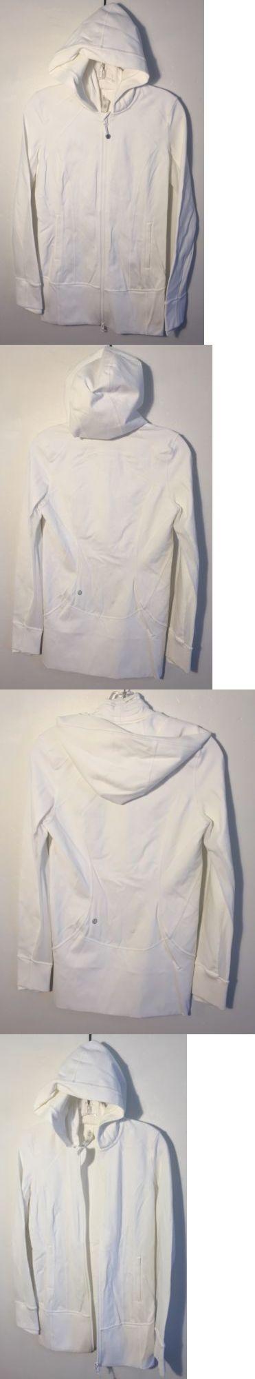 Athletic Apparel 137085: Lululemon Full Zip Hooded Athletic Yoga Jacket White New Women S Size 6 Nwot -> BUY IT NOW ONLY: $74.99 on eBay!