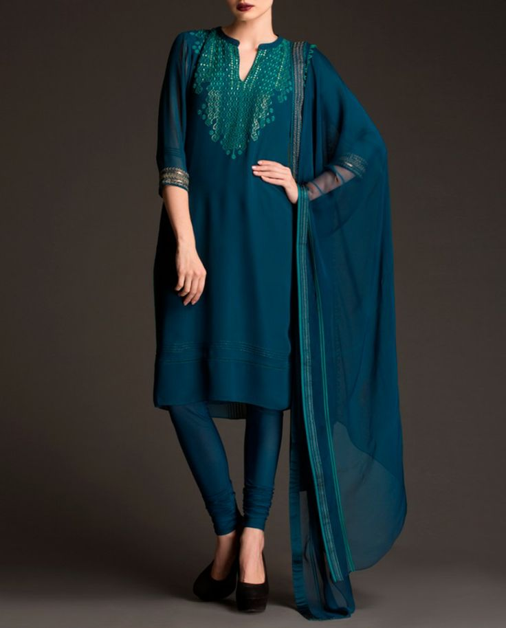 Exclusively.In Peacock Blue Anarkali Suit with Embroidered Pattern