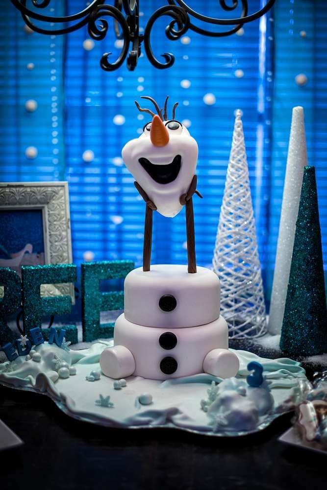 Fun Olaf cake at a Frozen birthday party! See more party planning ideas at CatchMyParty.com!