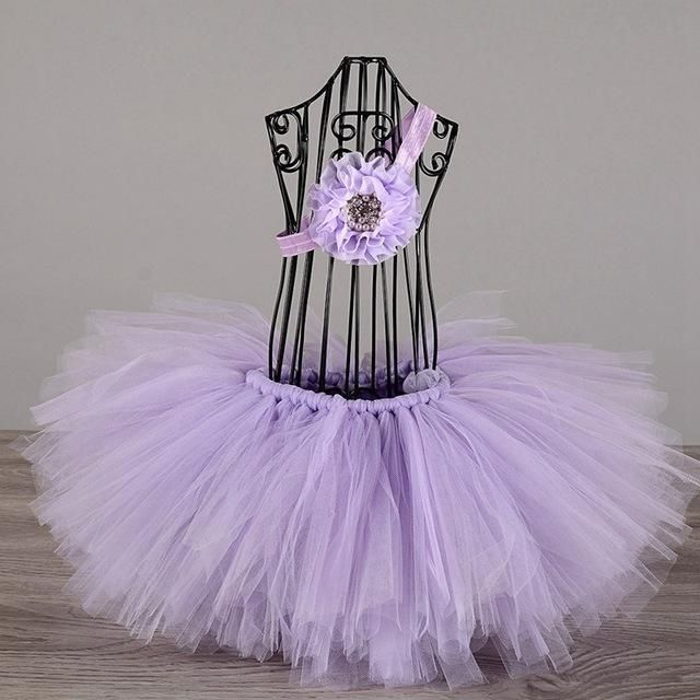 Newborn Baby Tutu Skirt with headband set for Photo Prop 7 Designs Fluffy Tulle