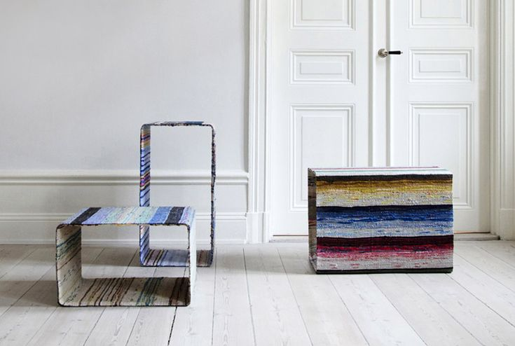 lars hofsj� recycles swedish rag rugs into torp and dunker tables - designboom | architecture