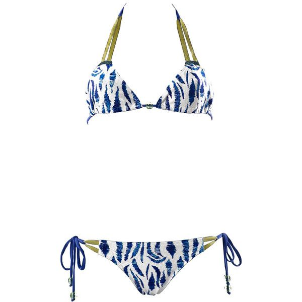 Acqua Bazaar Swimwear Bermudes Multicolour Printed Triangle Bikini ($63) ❤ liked on Polyvore featuring swimwear, bikinis, beach, animal print, swimsuits two piece, triangle bathing suits, aztec print bikini, floral-print bikinis and bikini swimsuit