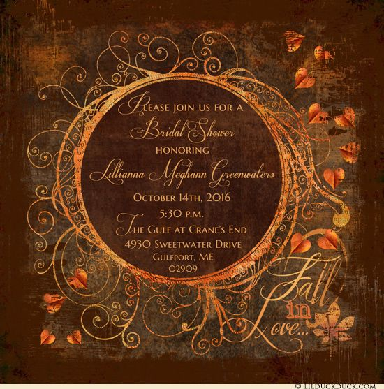 Elegant fall in love bridal shower invitation design for your autumn bride! Leaves and richly patterned harvest colors swirl around personalized text
