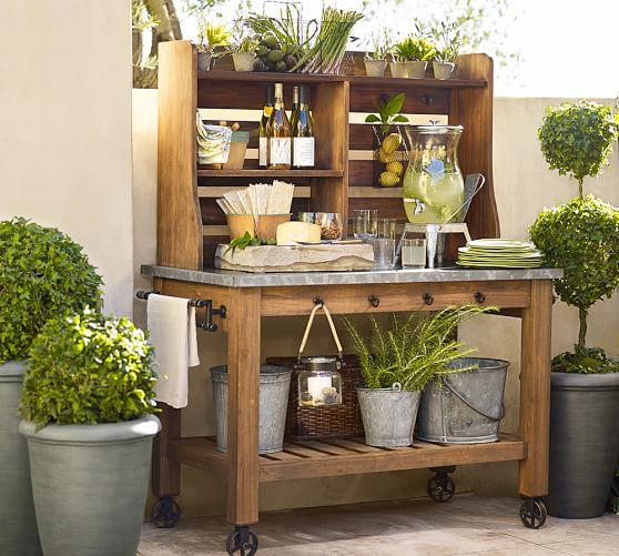 Abbott Zinc-Top Island & Hutch | Pottery Barn MUST HAVE OUTSIDE OVER WINDOW OPENING.