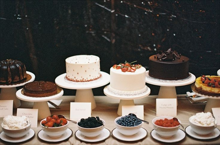 Multiple single layer cakes, instead of tiered cakes. Cheaper, easier to cut, and you can do multiple flavors! No risk of ruining THE CAKE either.