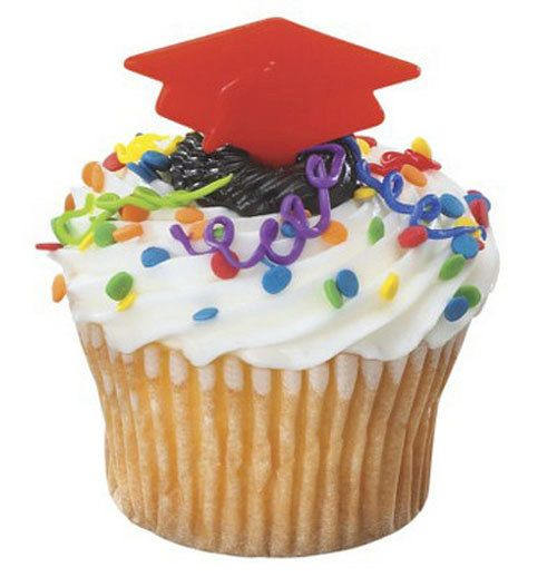 24 Red Graduation Cap Cupcake Picks Cake by CakeAndCandyDreams