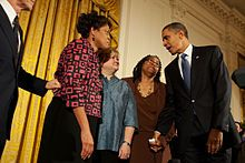 President Obama with Louvon Harris, Betty Byrd Boatner, and Judy Shepard. President Obama Signed The Law Of The Matthew Shepard and James Byrd, Jr. Hate Crimes Prevention Act October 22, 2009. Brought About Because Of Their Murders. Shepard Because He Was Gay And Byrd, Because He Was Black. The Measure Expands the 1969 U.S. Federal Hate-Crime Law.