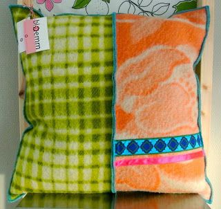 pillow made from vintage blankets and ribbons