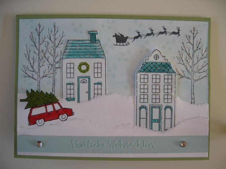 stampin up Christmas x-mas Card  Stamps : White Christmas , Holiday Home .Stempelsets : weiße Weihnacht , Aus dem Häuschen und gesammelte Grüße