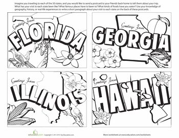 Worksheets: United States Postcards #3.  Site has lots of printables.