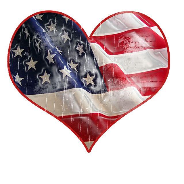 Hazafiság, Usa, Szív, Zászló, Holiday, Amerikai, Kék