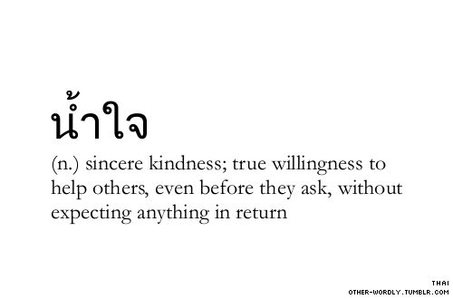 pronunciation | 'nam-tzI or 'nam-jI Thai script | น้ำใจ (n) sincere kindness, true willingness to help others, even before they ask, without expecting anything in return.