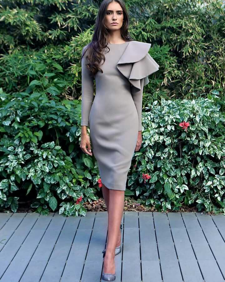 Grey dress for a ceremony.