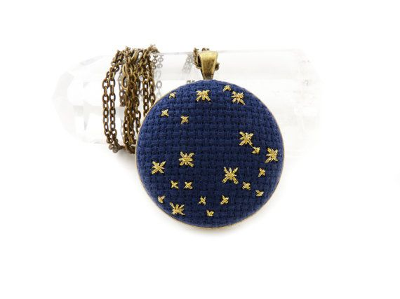 @Etsy Front Page: Navy Blue and Gold Star Large Galaxy Jewelry Necklace by #zelmarose #jewelry #pendant