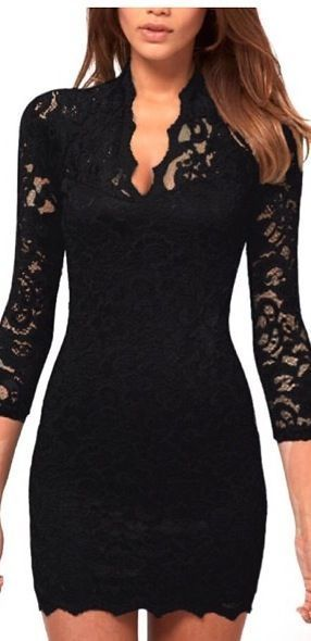 Black 3/4 Sleeves Lace Dress
