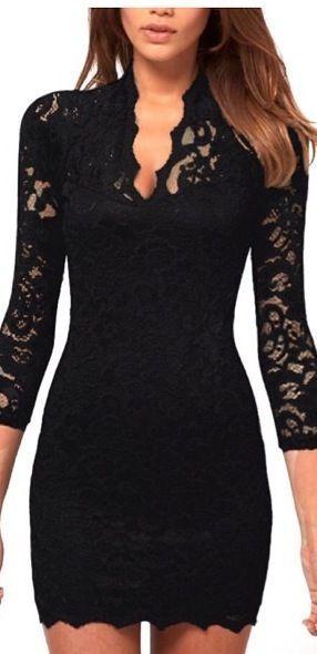 Black 3/4 Sleeves Lace Dress