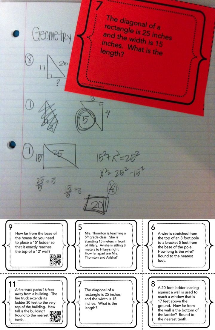 Pythagorean Theorem Word Problem - I love task cards because I can do so many things with them.  There are QR codes too!