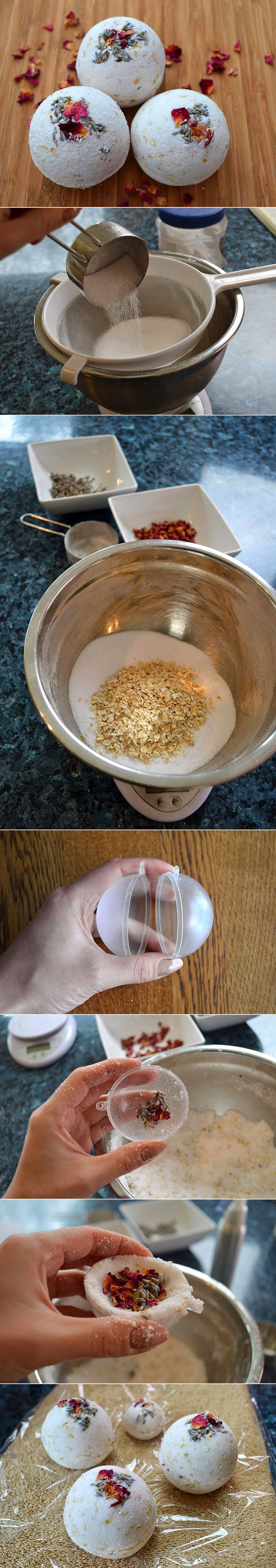 DIY - NATURAL ROSE, LAVENDER N OATMEAL BATH BOMBS ( CLICK THROUGH FOR TUTORIAL ) >> YOU WILL NEED : 1/2 CUP (110G) CITRIC ACID , 1 CUP (290G) BAKING SODA (UK - BICARBONATE OF SODA) , 1/4 CUP (25G) QUICK OATS , 1/4 TSP LAVENDER ESSENTIAL OIL , 1/8 TSP ROSE GERANIUM ESSENTIAL OIL , FLOWER PETALS (LAVENDER BUDS AND ROSE PETALS) , WITCH HAZEL (IN A SPRAY BOTTLE) , BATH BOMB MOULD