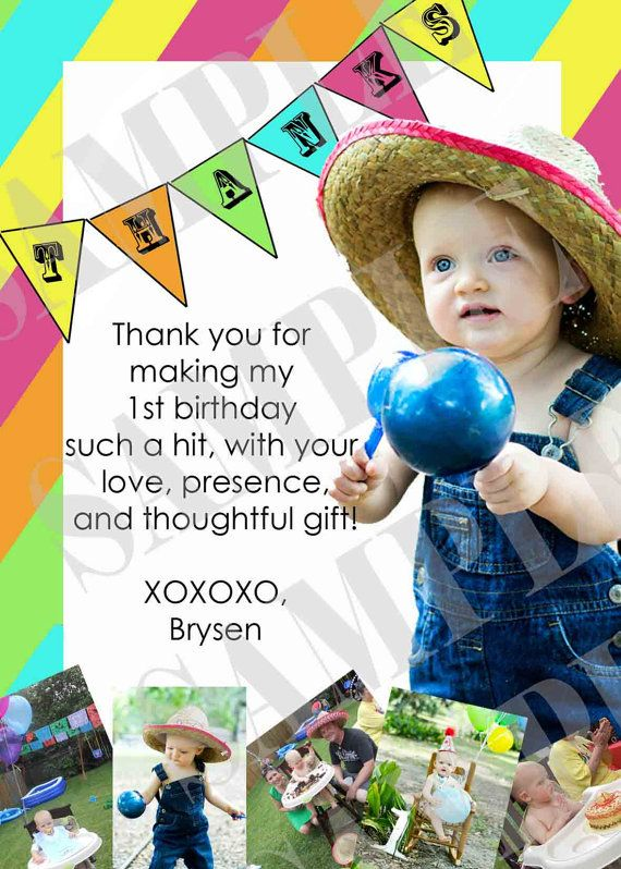 1st Birthday Thank You Card- like the message and picture combo!