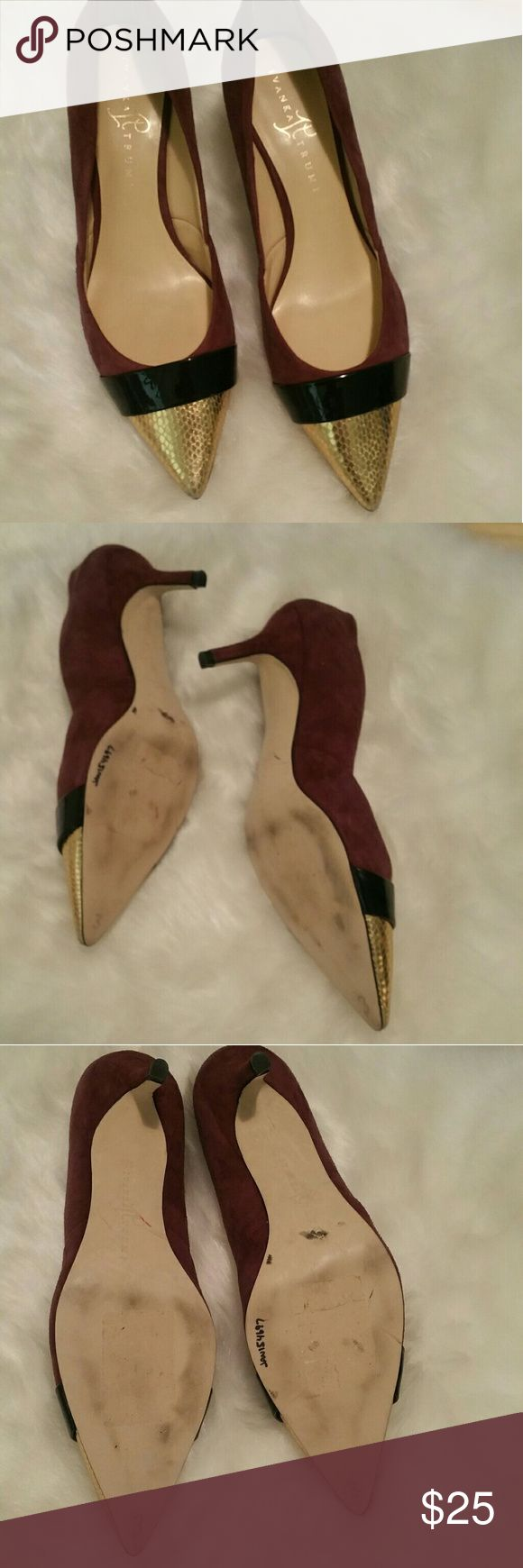 "☆SALE☆ Ivanka Trump heels Ivanka Trump suede heels with gold capped toes. Approximately 2"" heels, good condition. Re-Poshing as they don't fit. Ivanka Trump Shoes Heels"
