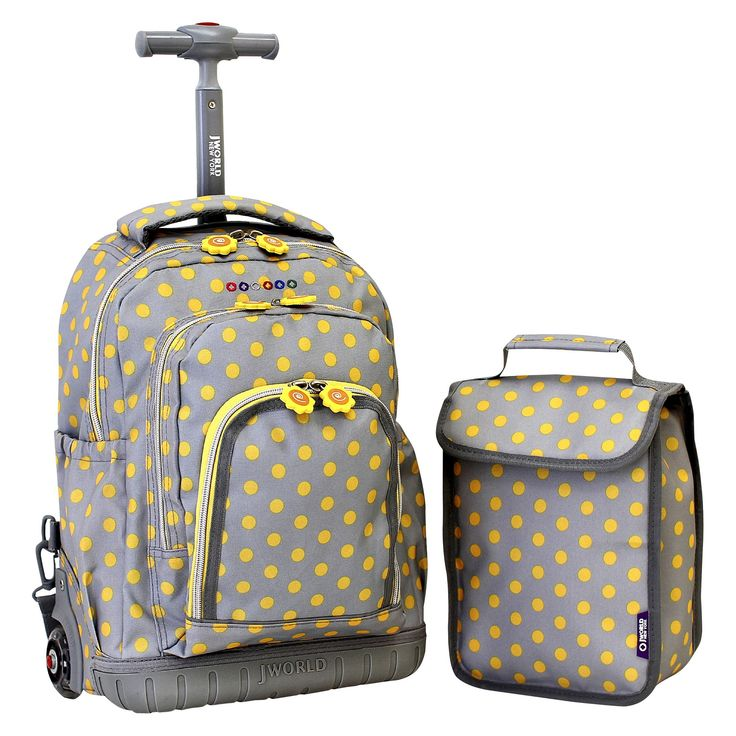 J World 16 Lollipop Rolling Backpack with Lunch Kit - Gray/Yellow
