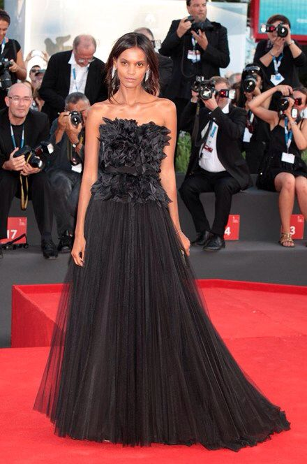 Ethiopian-born supermodel Liya Kebede was striking in a black tulle gown and glowing skin.