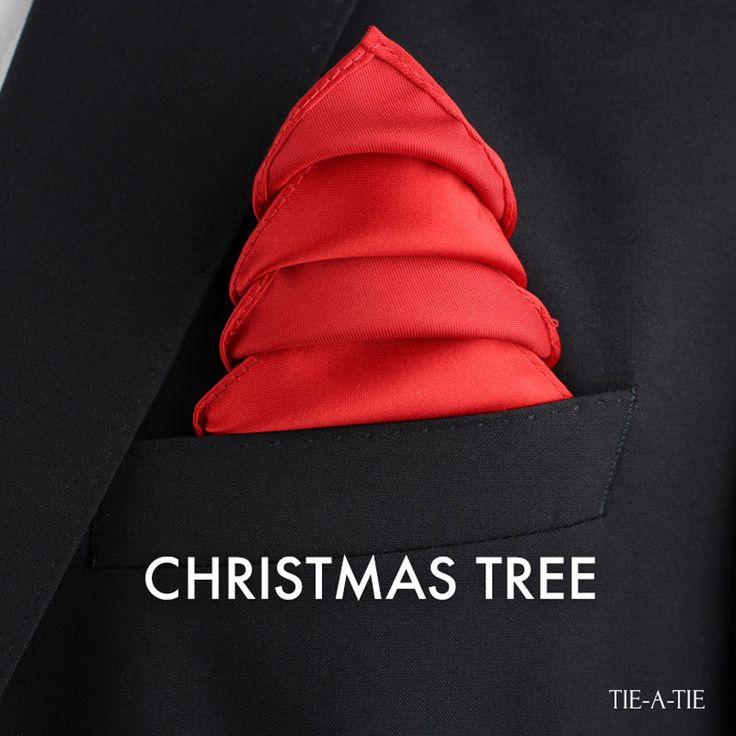 The Christmas Tree pocket square fold. Click image for detailed folding instructions for this fun Holiday fold.