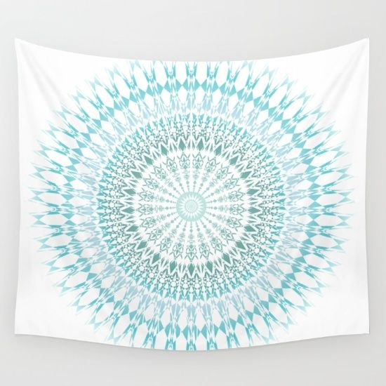 Matching bedding set available! #white #turquoise #mandala #medallion.  #walltapestry #modern #vector Prof. Carl Jung considered mandalas as universal expressions of human psyche. He also believed that if we reflect on them, we are actually able to tap into our innate nature and bring buried emotional wounds to light. mandala wall tapestry white #walldecor
