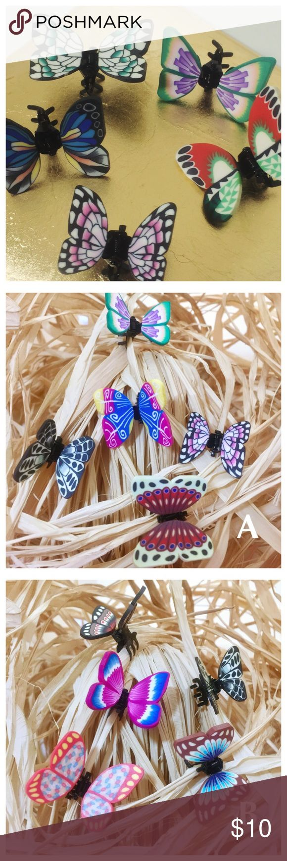 Butterfly Claw Hair Clips - Set of Six Silicone Butterfly Claw Hair Clips --- Set of Six ---- You will receive the five pictured (that you select) and one clip of my choice (for a total of 6) --- Please select set A, B, C, E, F, or G colorway Accessories Hair Accessories