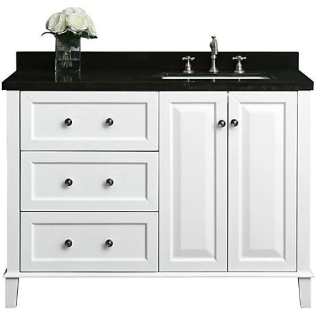 "Hannah White 48"" Granite-Top Off-Center Right Sink Vanity"