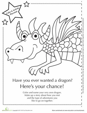 Dragon Activity Placemat infants and children Fairy