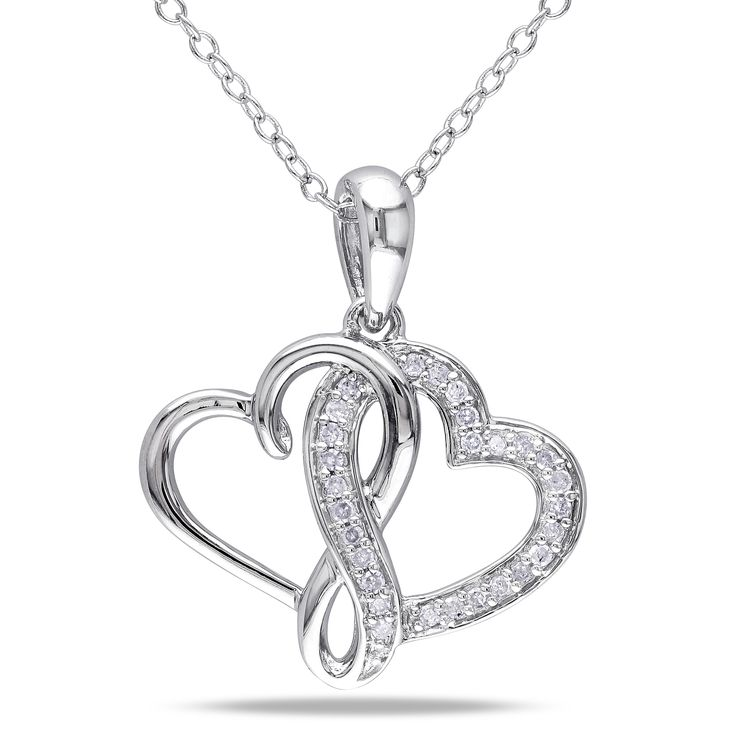 Miadora Sterling Silver 1/6ct TDW Diamond Double Heart Necklace