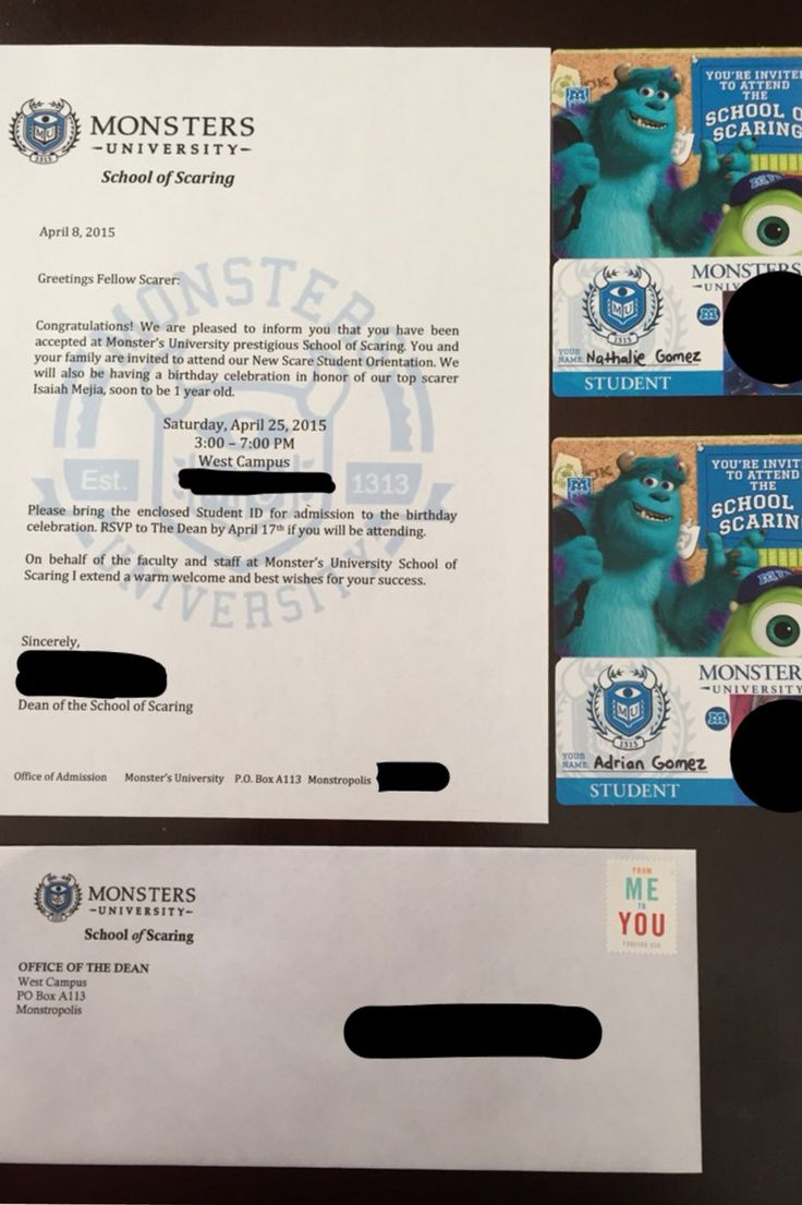Monster University party invitation letter.