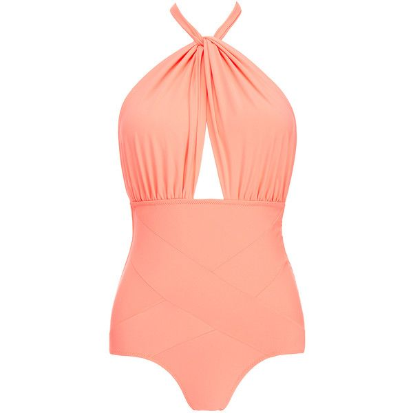 Lilliput & Felix Amaranthus Hot Coral Swimsuit ($150) ❤ liked on Polyvore featuring swimwear, one-piece swimsuits, pink, coral one piece swimsuit, cut out bathing suit, pink one piece swimsuit, halter bathing suit and halter one piece swimsuit