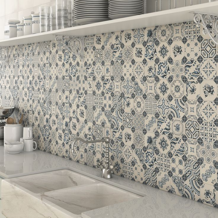 Bologna Blue Pattern Mosaic Tiles used as a splashback tile in kitchen.