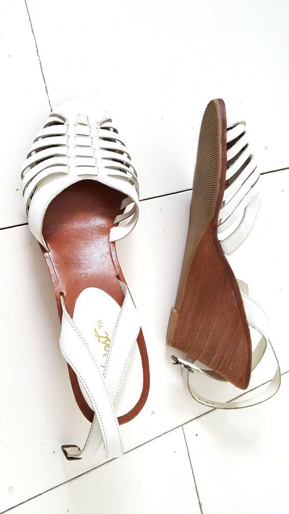 7f13486a724 Vintage 80s Woven Wedge Heel Leather Sandals Size 7 White 9 West Huarache  Ankle  9West