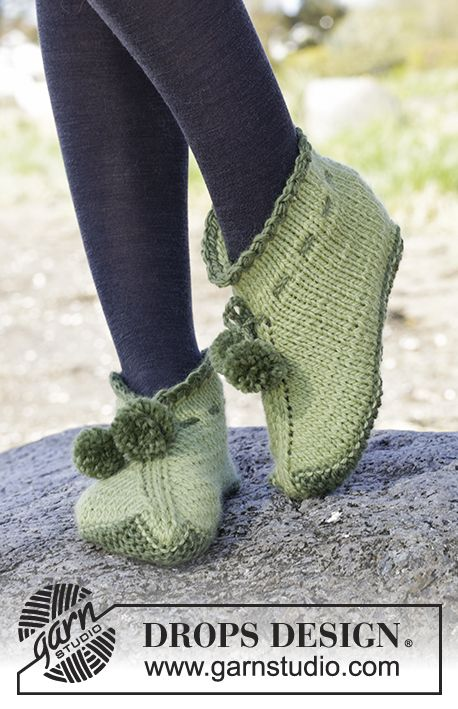 Slippers by #DROPSDesign, Free #knitting Pattern