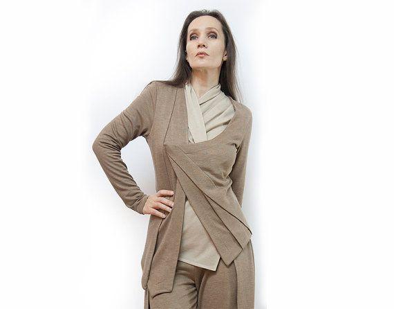 jacket beige jacket asymmetrical jacket jersey by AnnaPerena, $94.00