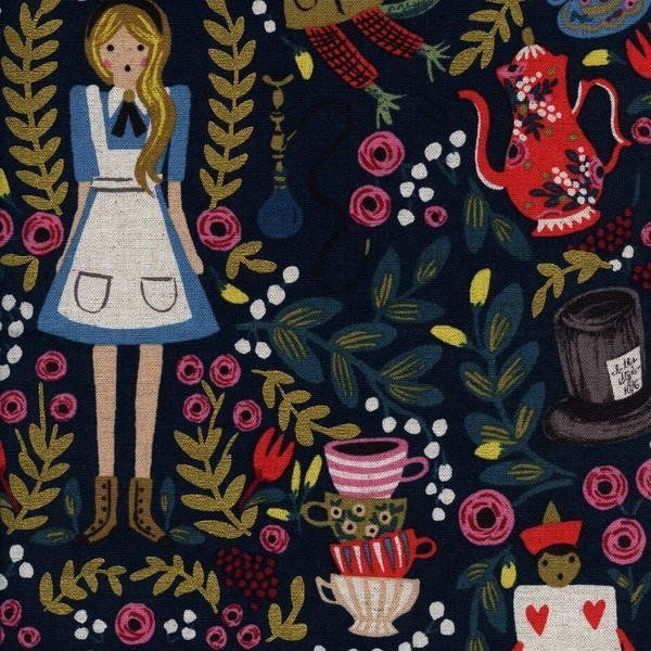 Alice in Wonderland Navy Blue - CANVAS #sewing #sew #dressmaking #fabric  #making #material #sewing #quilting #patchwork #sewists #aliceinwonderland