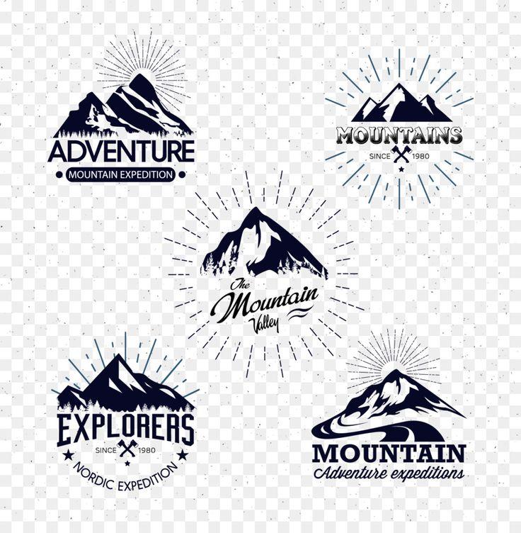 Mountain Logo Icon Hand painted black mountain icon