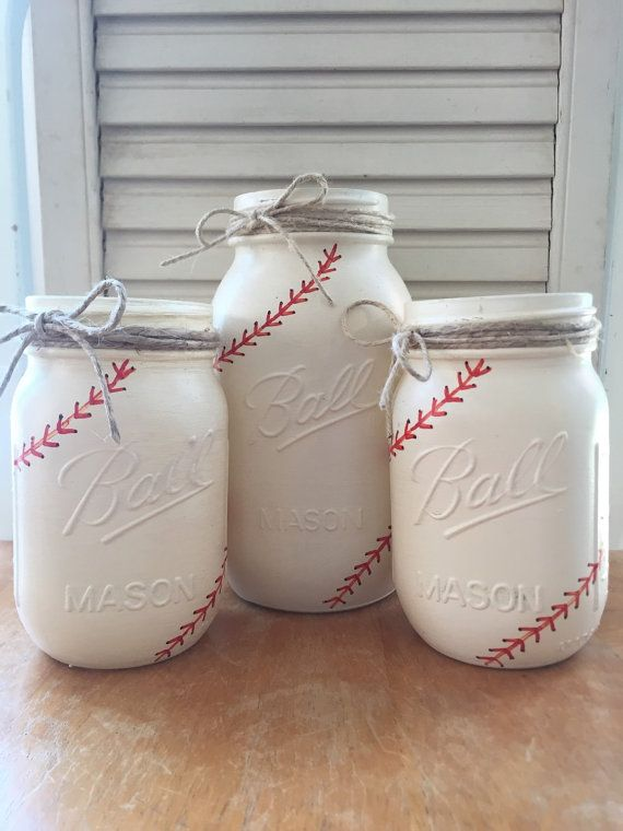Painted Mason Jar Set. Baseball Themed. Party by ChalkandPatina