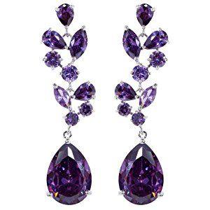Yazilind Chandelier Leaves Silver Plated Teardrop Purple Cubic Zirconia CZ Flawless Post Dangle Earrings