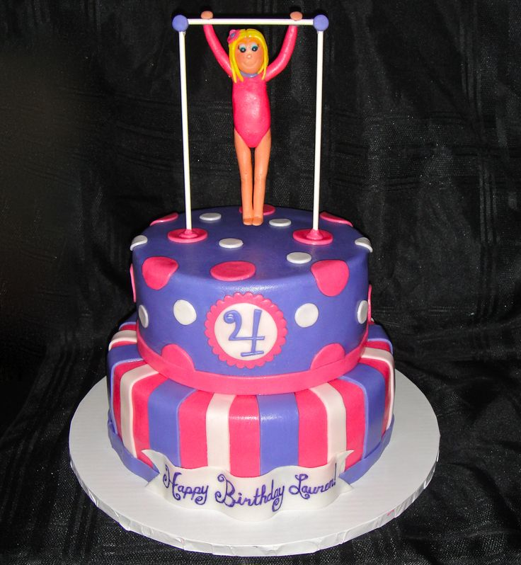 Wants this one bar with girl standing up on top of the other cake. She likes this pink leotard. Could you add a black star to it like the topping of the other girl? Kylie, my daughter and birthday girl, has long almost waist-length brown hair. She usually wears it in a ponytail or french braid.