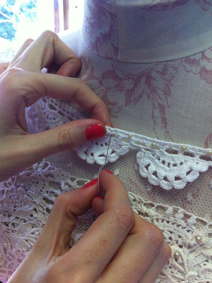 Vintage protea lace, crochet trim, & dotted tulle for Jeannine Stegen #EcoBride
