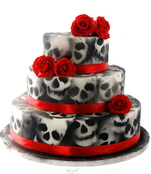 Cake Airbrushed with Skulls, Decorated with Red Roses