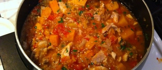 Hearty Chicken stew with Quinoa and butternut squash. MUST make this