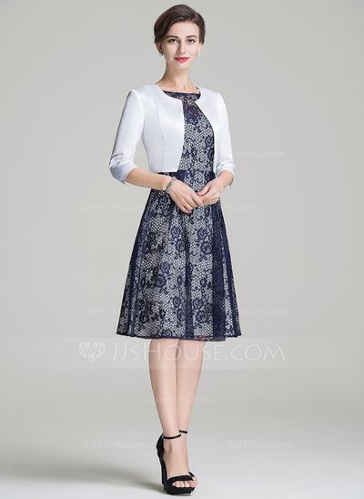 A-Line/Princess Scoop Neck Knee-Length Zipper Up Sleeves Short Sleeves Yes 2016 Dark Navy Spring Fall Winter General Plus Lace Mother of the Bride Dress