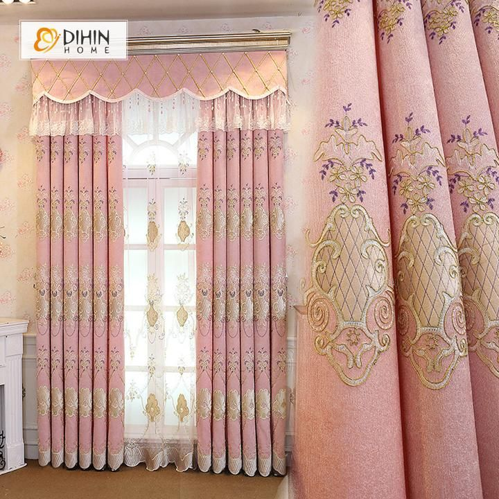 Dihin Home Coffee Pattern Embroidered Pink Background Blackout Curtains Grommet Window Curtain For Li Curtains Living Room Luxury Curtains Living Room Curtains #pink #living #room #curtains