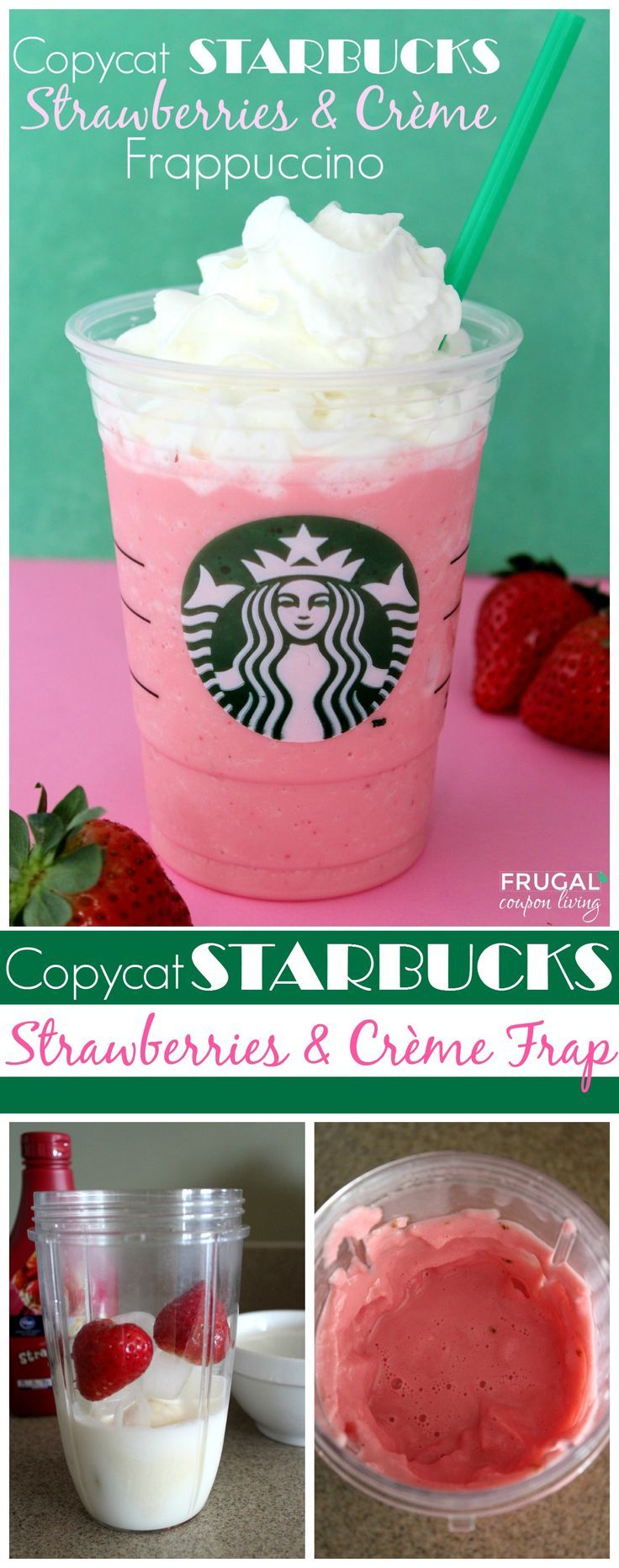 Copycat Starbucks Strawberries & Crème Frappuccino plus more Starbucks recipes on Frugal Coupon Living. #copycatrecipe #copycat