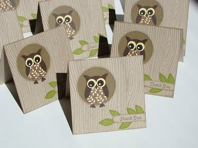How cute are these little owl thank you notes by Brenda?
